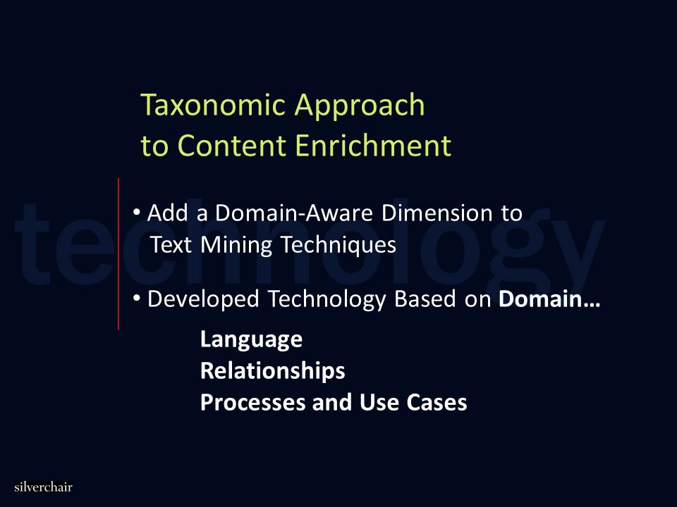 Taxonomic Approach to Content Enrichment Add a Domain-Aware Dimension to Text Mining Techniques Developed Technology Based on Domain… Language Relationships Processes and Use Cases