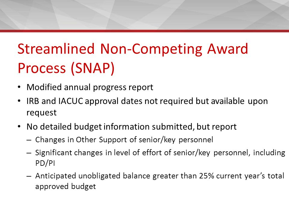 Streamlined Non-Competing Award Process (SNAP) Modified annual progress report IRB and IACUC approval dates not required but available upon request No detailed budget information submitted, but report – Changes in Other Support of senior/key personnel – Significant changes in level of effort of senior/key personnel, including PD/PI – Anticipated unobligated balance greater than 25% current year's total approved budget