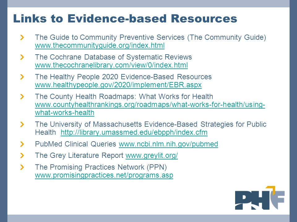 Links to Evidence-based Resources The Guide to Community Preventive Services (The Community Guide) www.thecommunityguide.org/index.html www.thecommuni