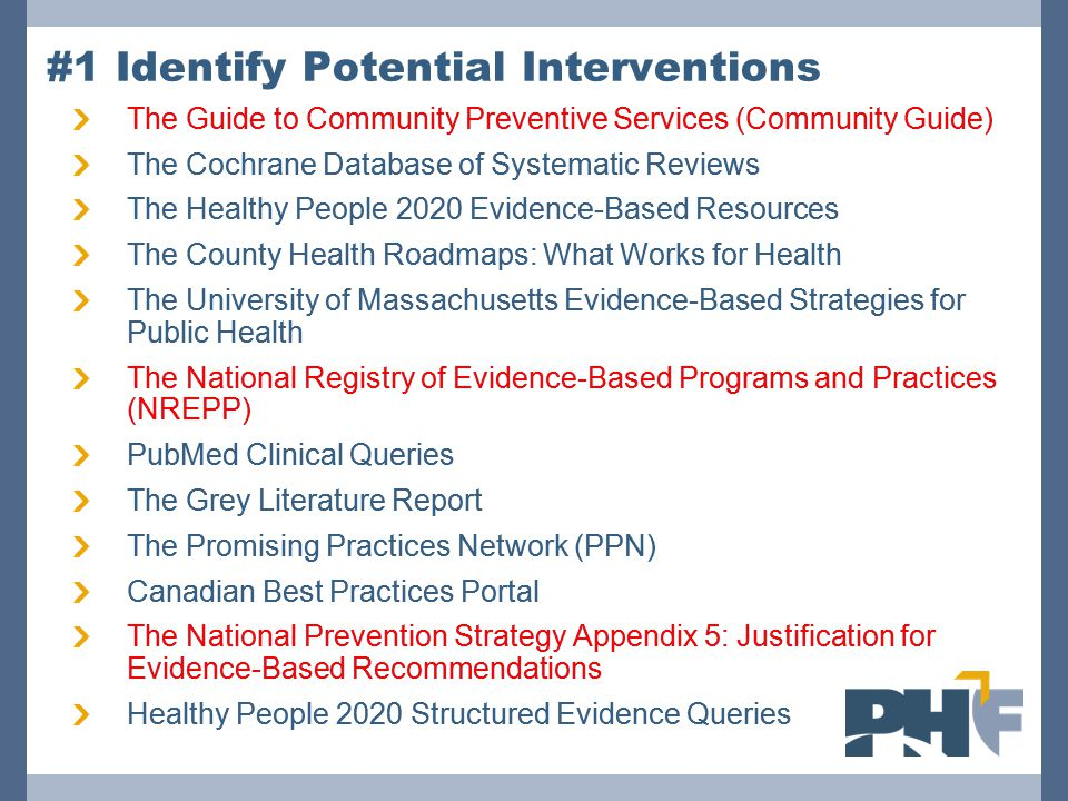 #1 Identify Potential Interventions The Guide to Community Preventive Services (Community Guide) The Cochrane Database of Systematic Reviews The Healthy People 2020 Evidence-Based Resources The County Health Roadmaps: What Works for Health The University of Massachusetts Evidence-Based Strategies for Public Health The National Registry of Evidence-Based Programs and Practices (NREPP) PubMed Clinical Queries The Grey Literature Report The Promising Practices Network (PPN) Canadian Best Practices Portal The National Prevention Strategy Appendix 5: Justification for Evidence-Based Recommendations Healthy People 2020 Structured Evidence Queries The Guide to Community Preventive Services (Community Guide) The Cochrane Database of Systematic Reviews The Healthy People 2020 Evidence-Based Resources The County Health Roadmaps: What Works for Health The University of Massachusetts Evidence-Based Strategies for Public Health The National Registry of Evidence-Based Programs and Practices (NREPP) PubMed Clinical Queries The Grey Literature Report The Promising Practices Network (PPN) Canadian Best Practices Portal The National Prevention Strategy Appendix 5: Justification for Evidence-Based Recommendations Healthy People 2020 Structured Evidence Queries