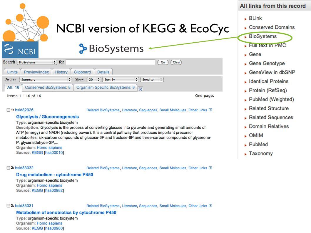 NCBI version of KEGG & EcoCyc