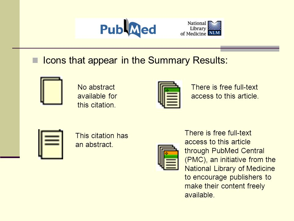Icons that appear in the Summary Results: No abstract available for this citation.
