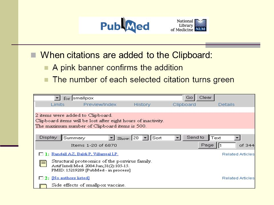 When citations are added to the Clipboard: A pink banner confirms the addition The number of each selected citation turns green