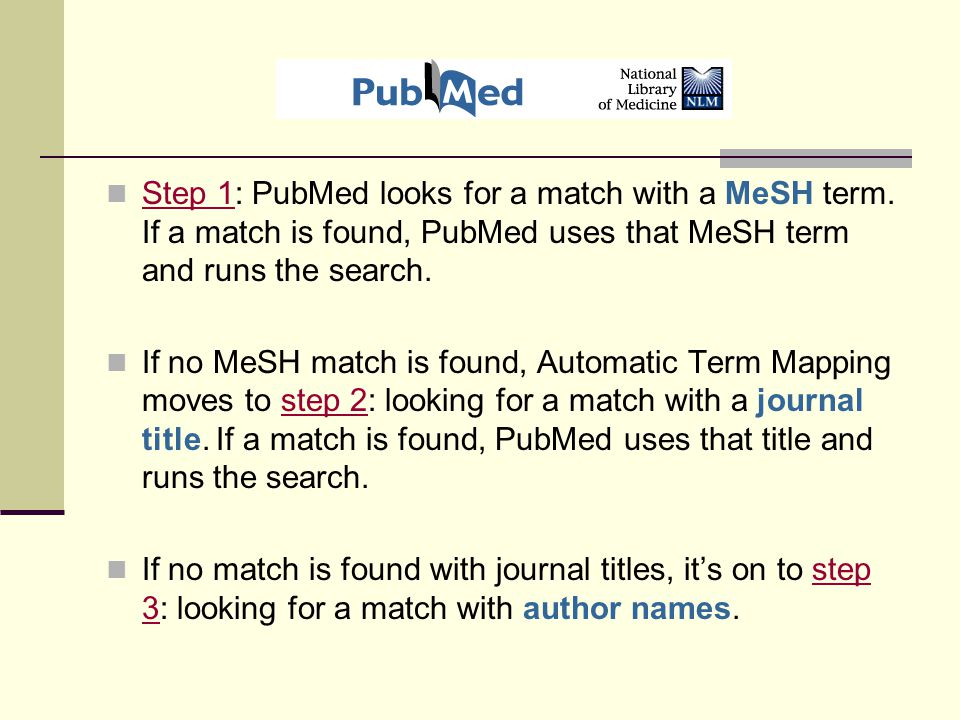 Step 1: PubMed looks for a match with a MeSH term.