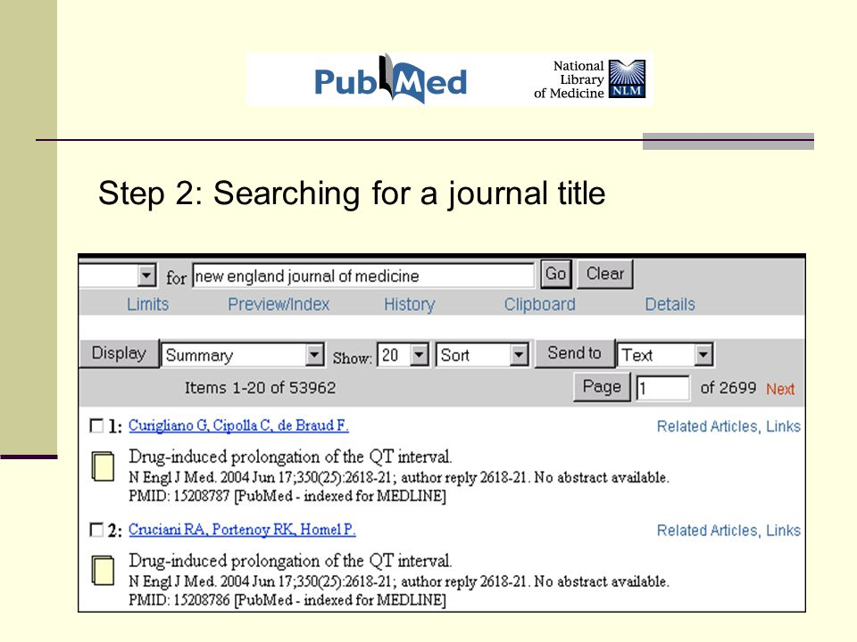 Step 2: Searching for a journal title