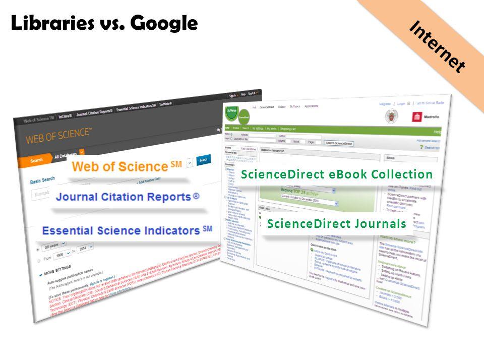 ScienceDirect eBook Collection ScienceDirect Journals Internet Libraries vs. Google
