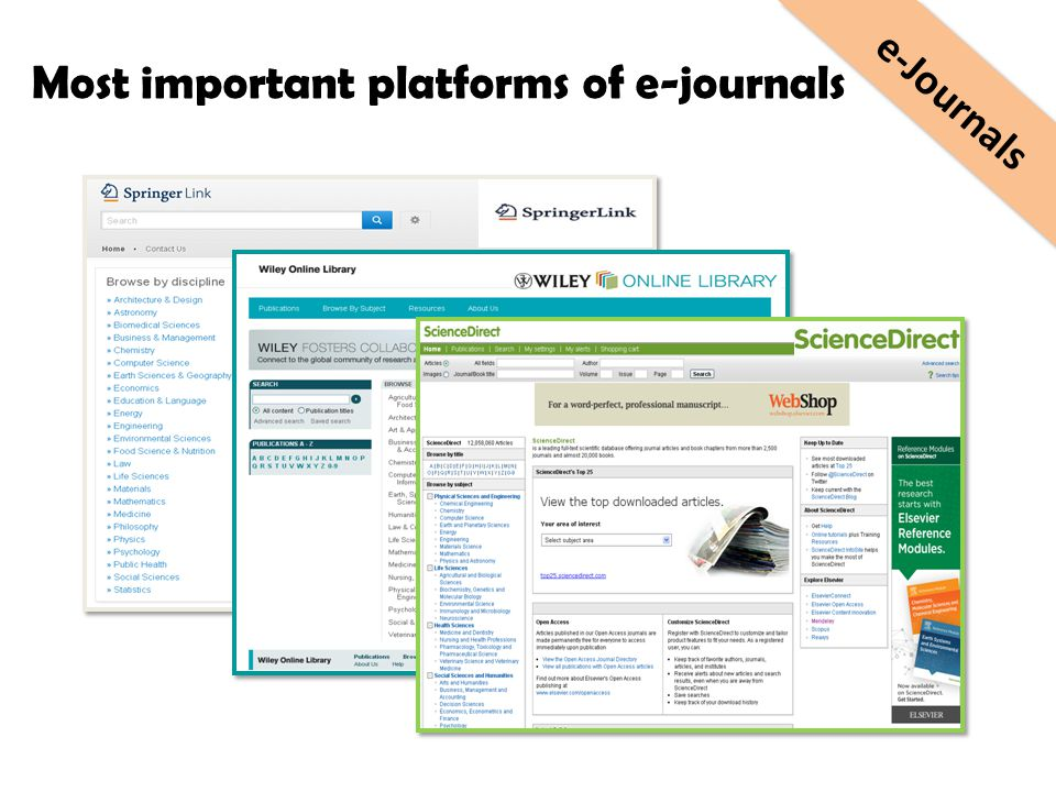 Most important platforms of e-journals