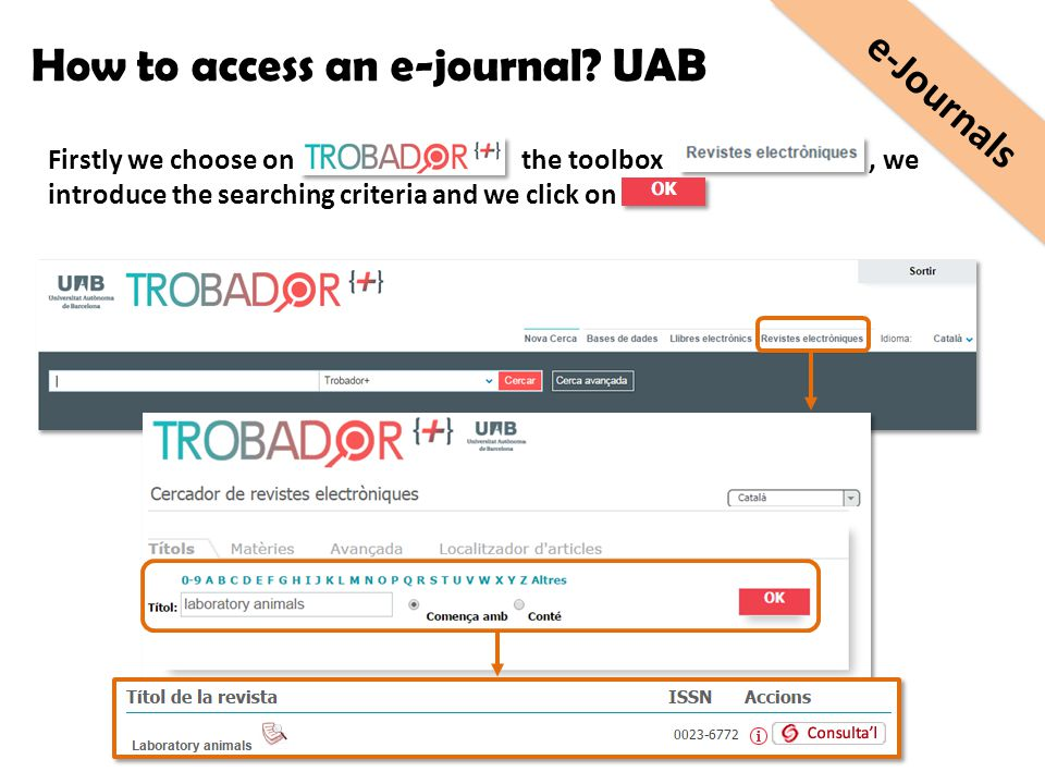 Firstly we choose on the toolbox, we introduce the searching criteria and we click on How to access an e-journal? UAB e-Journals