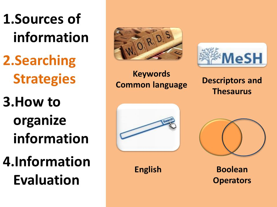 Keywords Common language English Boolean Operators Descriptors and Thesaurus 1.Sources of information 2.Searching Strategies 3.How to organize information 4.Information Evaluation