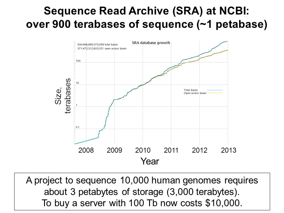 Sequence Read Archive (SRA) at NCBI: over 900 terabases of sequence (~1 petabase) A project to sequence 10,000 human genomes requires about 3 petabytes of storage (3,000 terabytes).