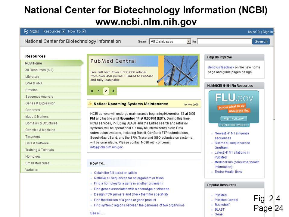National Center for Biotechnology Information (NCBI) www.ncbi.nlm.nih.gov Fig. 2.4 Page 24