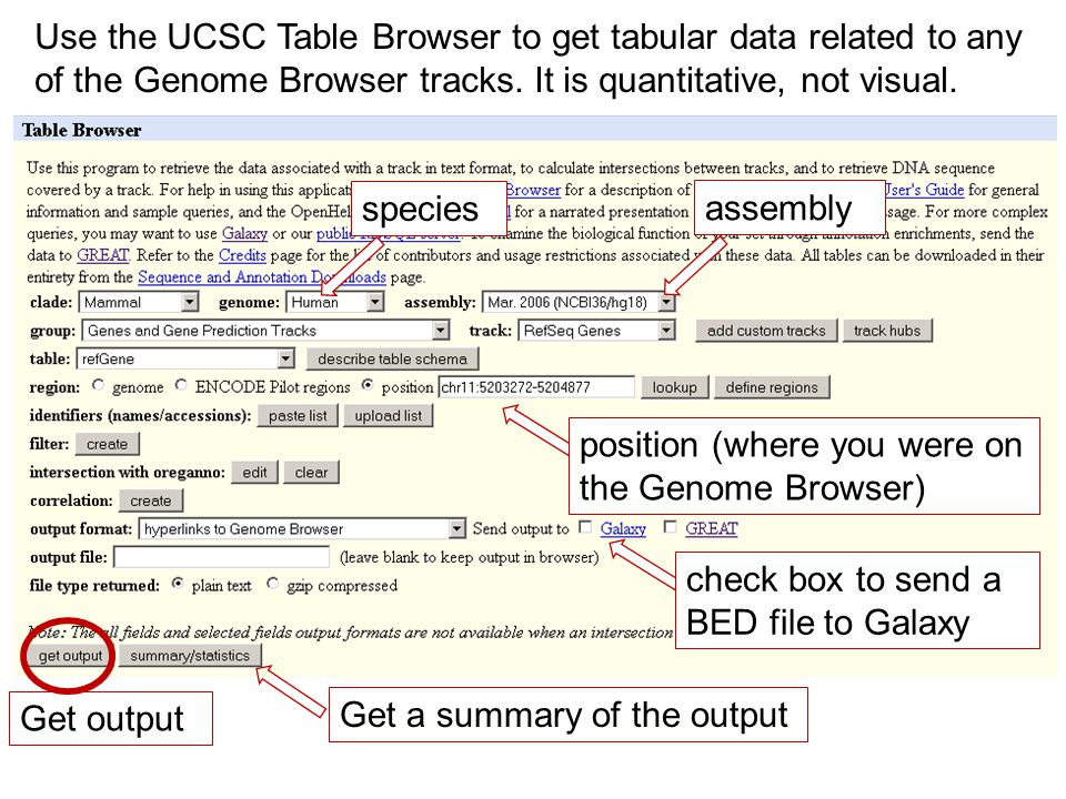 Use the UCSC Table Browser to get tabular data related to any of the Genome Browser tracks.