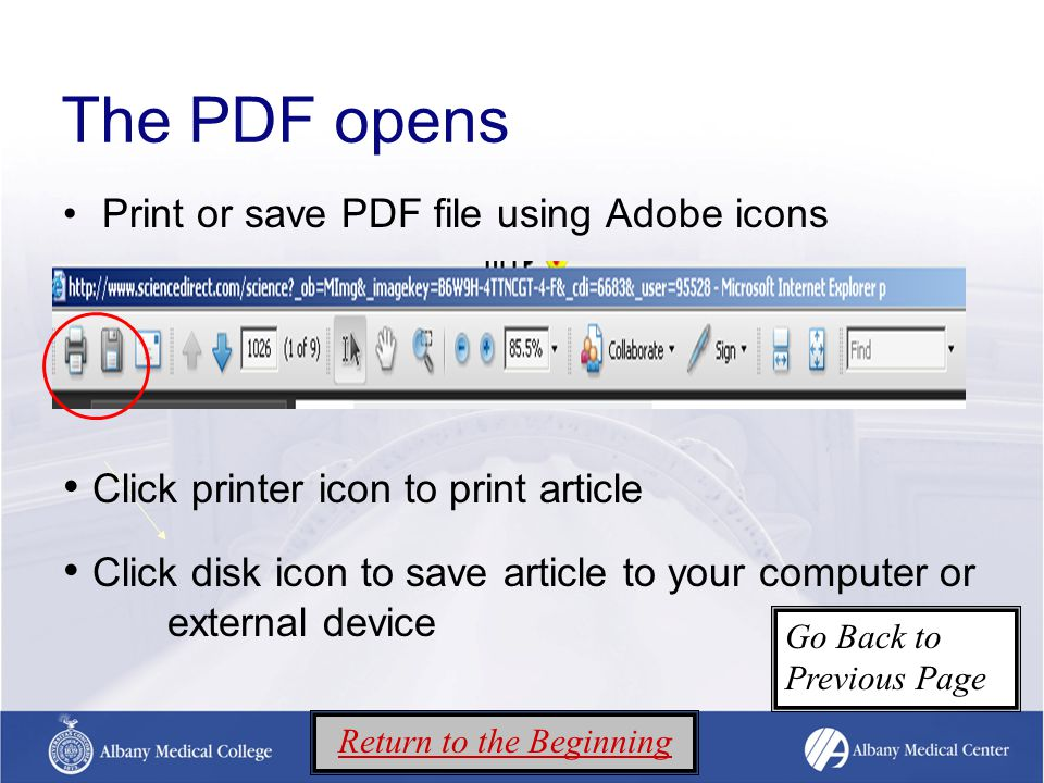 The PDF opens Print or save PDF file using Adobe icons Click printer icon to print article Click disk icon to save article to your computer or external device Return to the Beginning Go Back to Previous Page