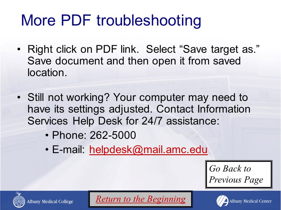 More PDF troubleshooting Right click on PDF link.