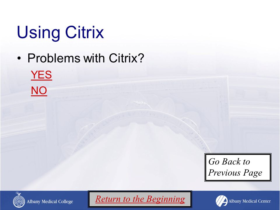 Using Citrix Problems with Citrix YES NO Return to the Beginning Go Back to Previous Page