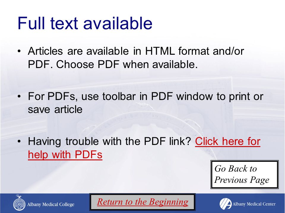 Full text available Articles are available in HTML format and/or PDF.