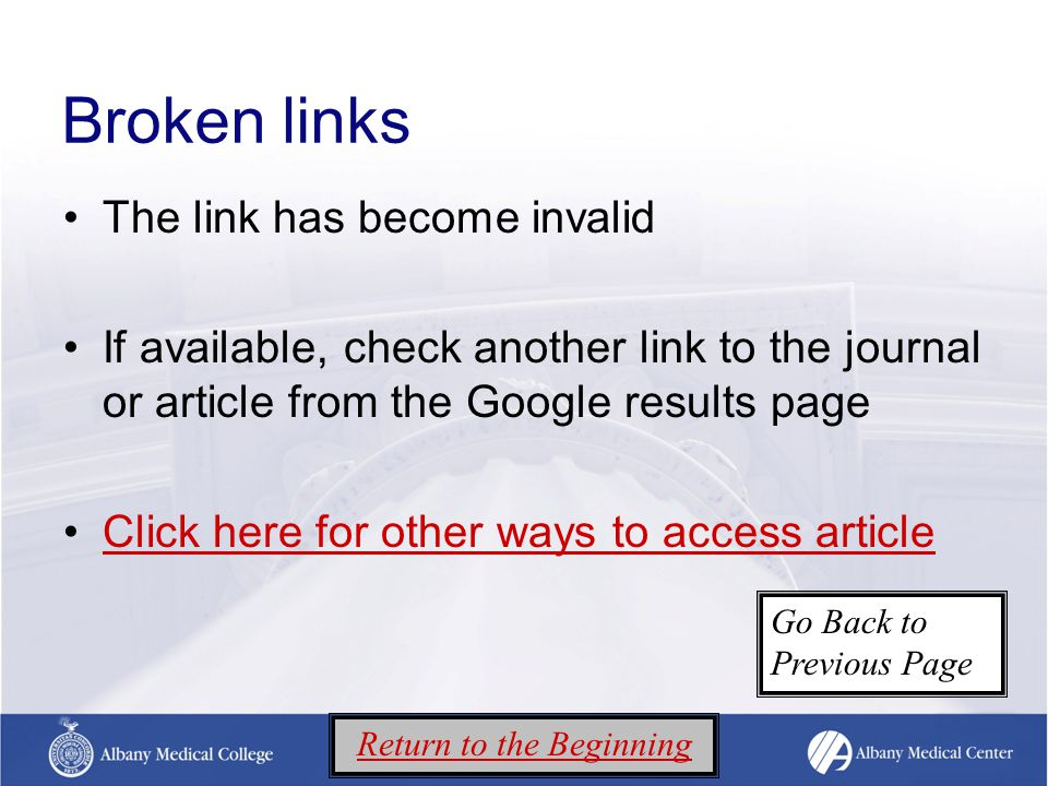 Broken links The link has become invalid If available, check another link to the journal or article from the Google results page Click here for other ways to access article Return to the Beginning Go Back to Previous Page