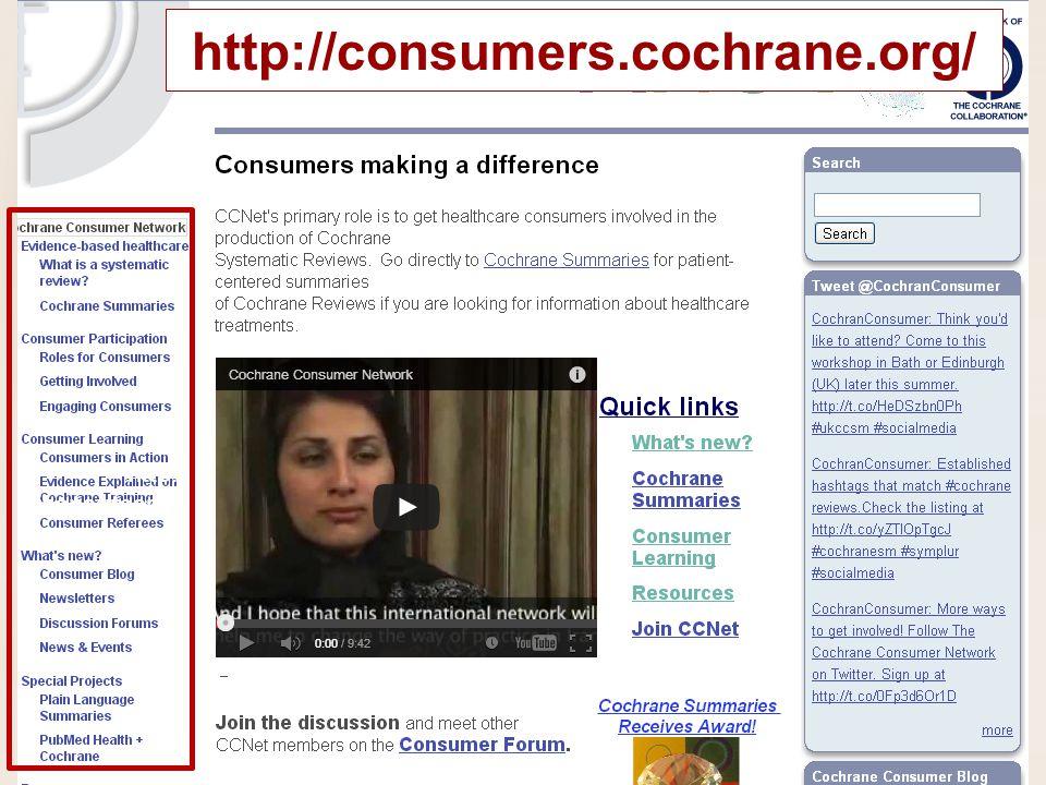 http: //consumers. cochrane.org/