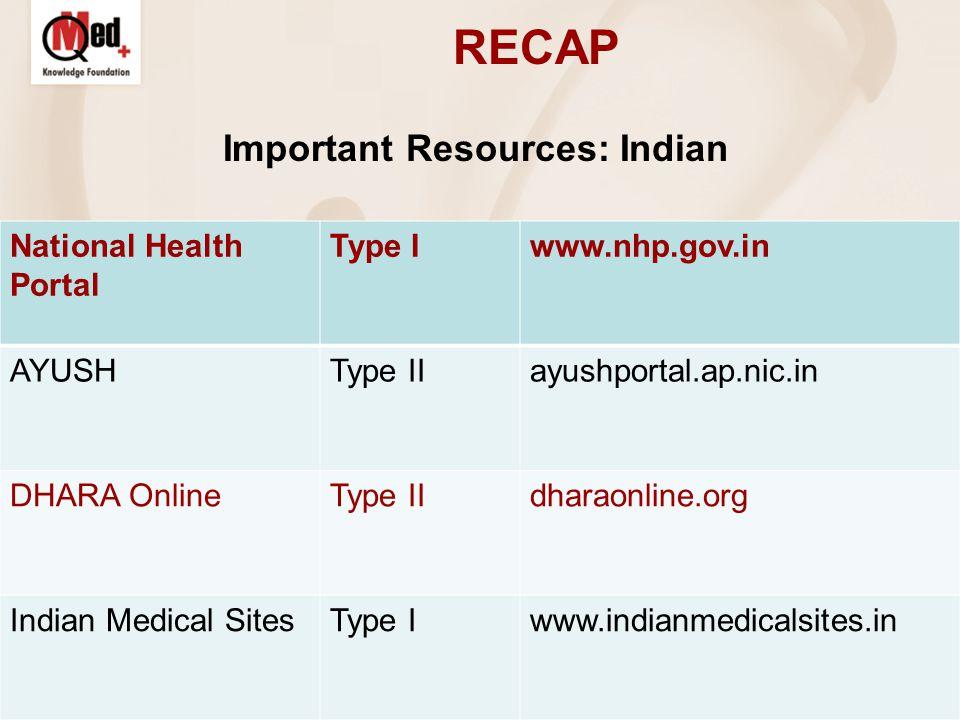RECAP Important Resources: Indian National Health Portal Type Iwww.nhp.gov.in AYUSHType IIayushportal.ap.nic.in DHARA OnlineType IIdharaonline.org Indian Medical SitesType Iwww.indianmedicalsites.in