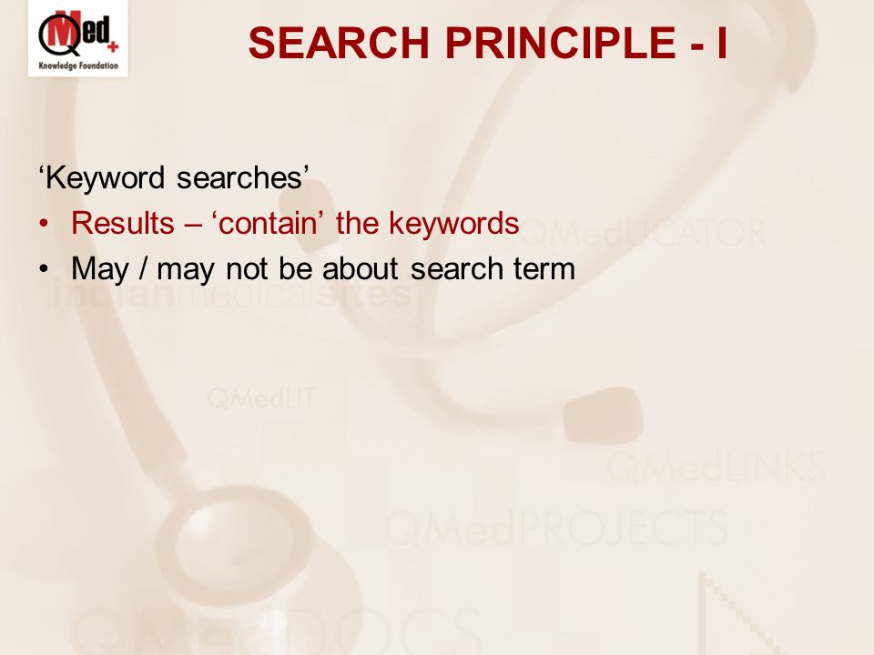 SEARCH PRINCIPLE - I 'Keyword searches' Results – 'contain' the keywords May / may not be about search term