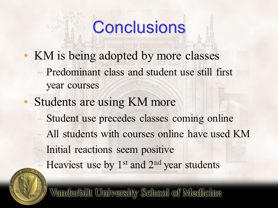 Conclusions KM is being adopted by more classes –Predominant class and student use still first year courses Students are using KM more –Student use precedes classes coming online –All students with courses online have used KM –Initial reactions seem positive –Heaviest use by 1 st and 2 nd year students