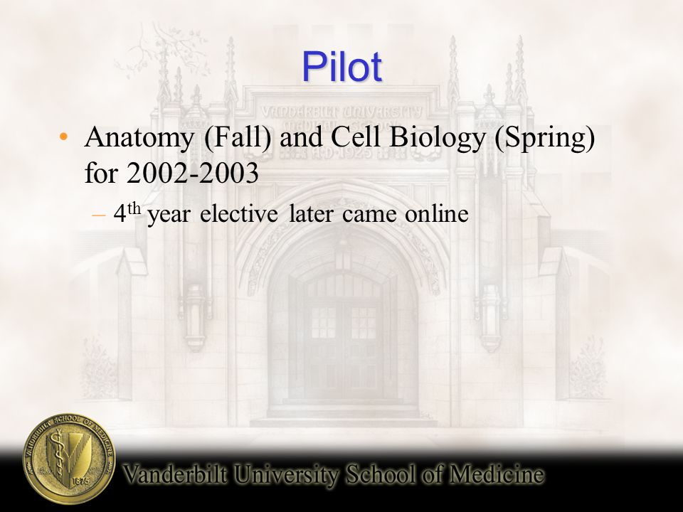 Pilot Anatomy (Fall) and Cell Biology (Spring) for 2002-2003 –4 th year elective later came online