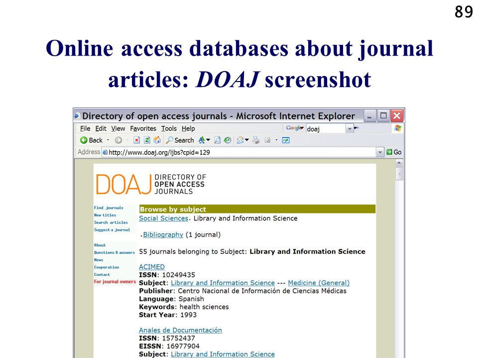 89 Online access databases about journal articles: DOAJ screenshot