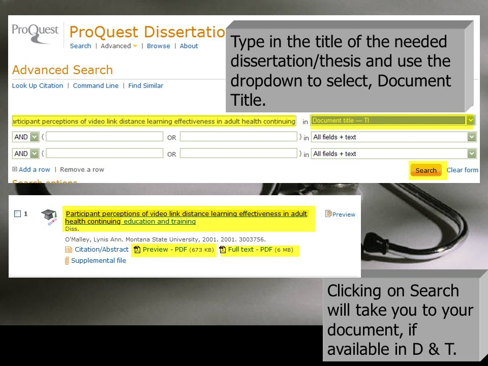 17 Type in the title of the needed dissertation/thesis and use the dropdown to select, Document Title.