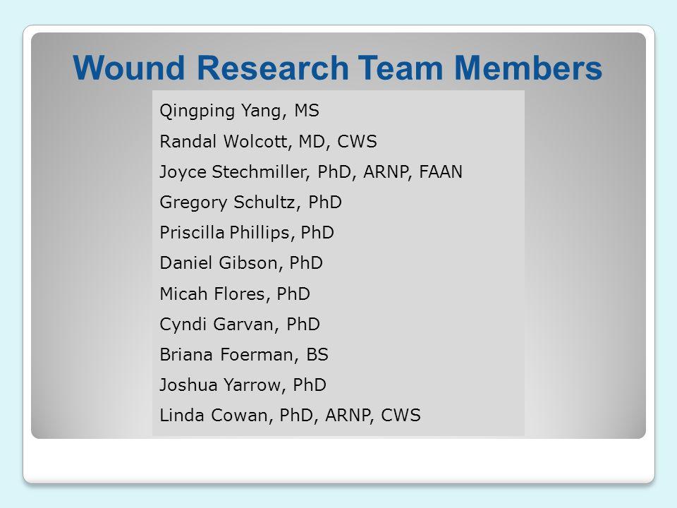 Wound Research Team Members Qingping Yang, MS Randal Wolcott, MD, CWS Joyce Stechmiller, PhD, ARNP, FAAN Gregory Schultz, PhD Priscilla Phillips, PhD
