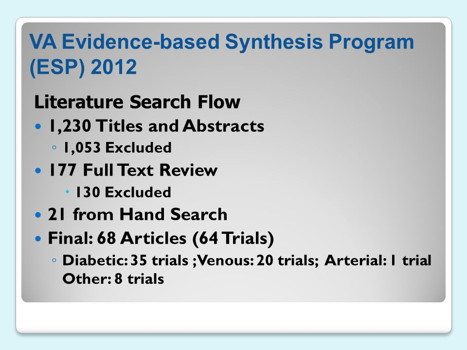 VA Evidence-based Synthesis Program (ESP) 2012 Literature Search Flow 1,230 Titles and Abstracts ◦ 1,053 Excluded 177 Full Text Review  130 Excluded