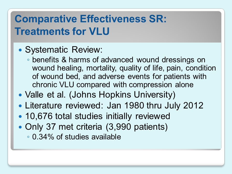 Comparative Effectiveness SR: Treatments for VLU Systematic Review: ◦ benefits & harms of advanced wound dressings on wound healing, mortality, qualit