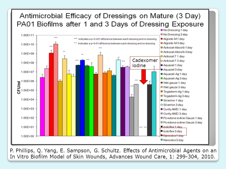 Cadexomer iodine P. Phillips, Q. Yang, E. Sampson, G. Schultz. Effects of Antimicrobial Agents on an In Vitro Biofilm Model of Skin Wounds, Advances W