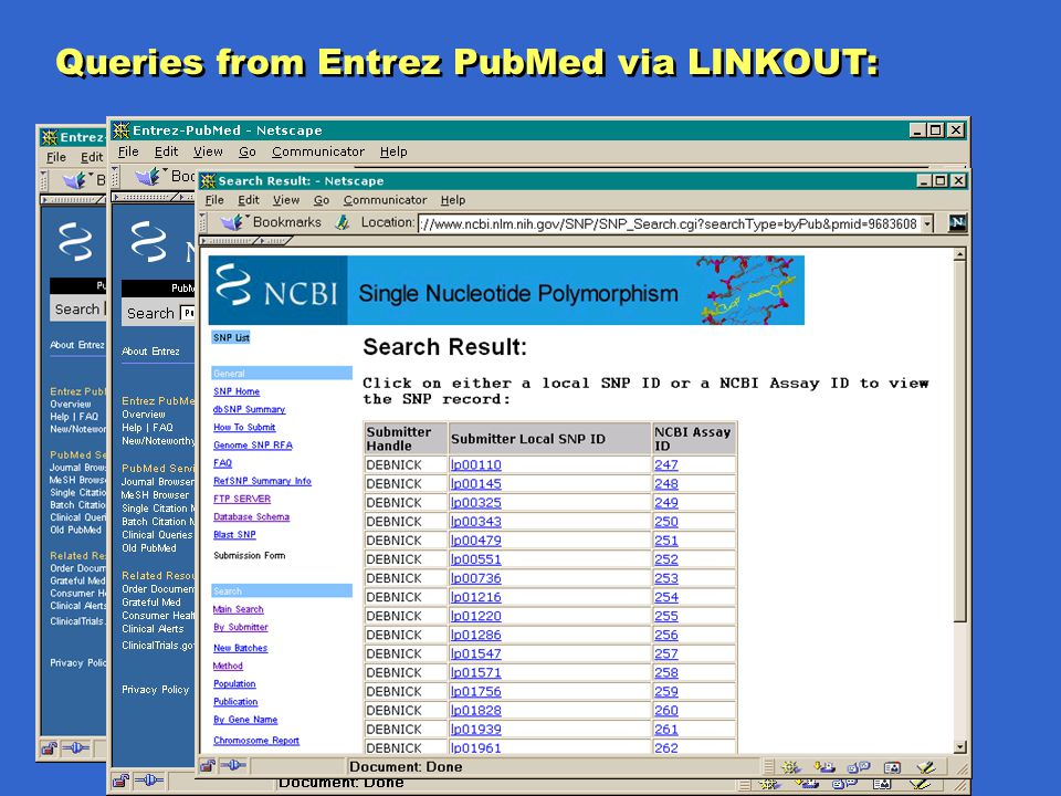 Queries from Entrez PubMed via LINKOUT: