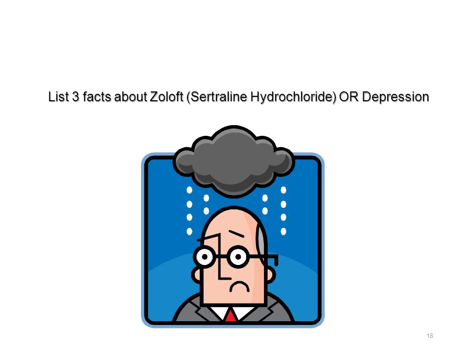 List 3 facts about Zoloft (Sertraline Hydrochloride) OR Depression 18