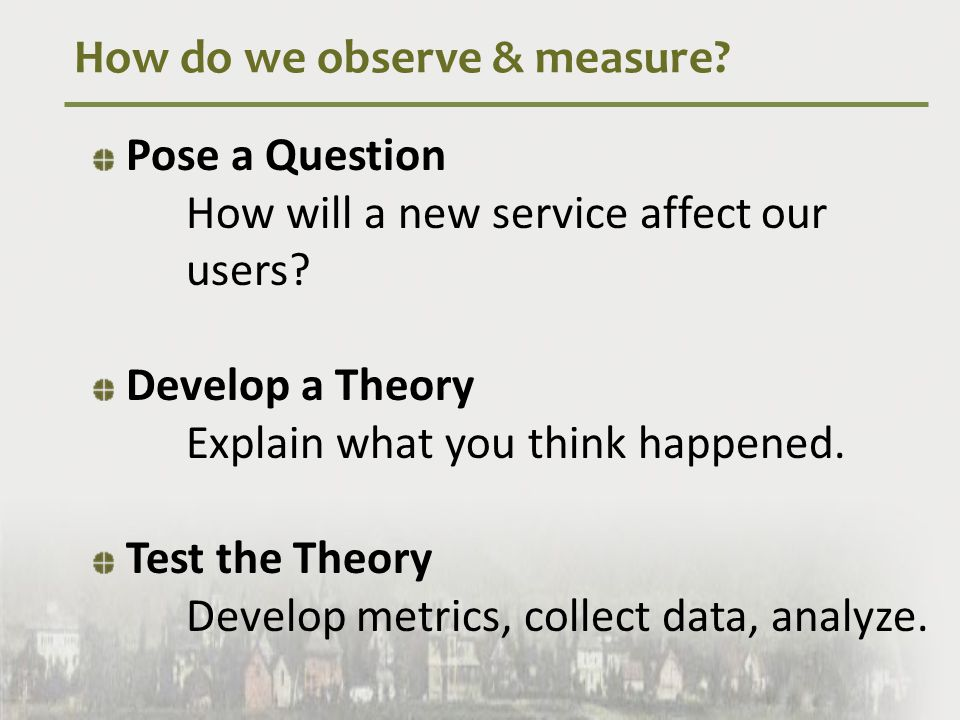 How do we observe & measure.Pose a Question How will a new service affect our users.