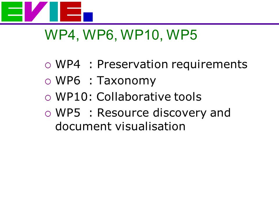 WP4, WP6, WP10, WP5  WP4 : Preservation requirements  WP6 : Taxonomy  WP10: Collaborative tools  WP5 : Resource discovery and document visualisation