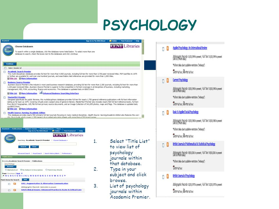 PSYCHOLOGY 1.Select Title List to view list of psychology journals within that database.