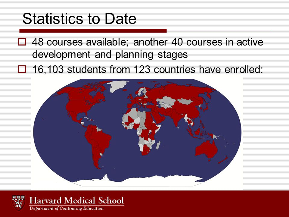 Statistics to Date  48 courses available; another 40 courses in active development and planning stages  16,103 students from 123 countries have enrolled: