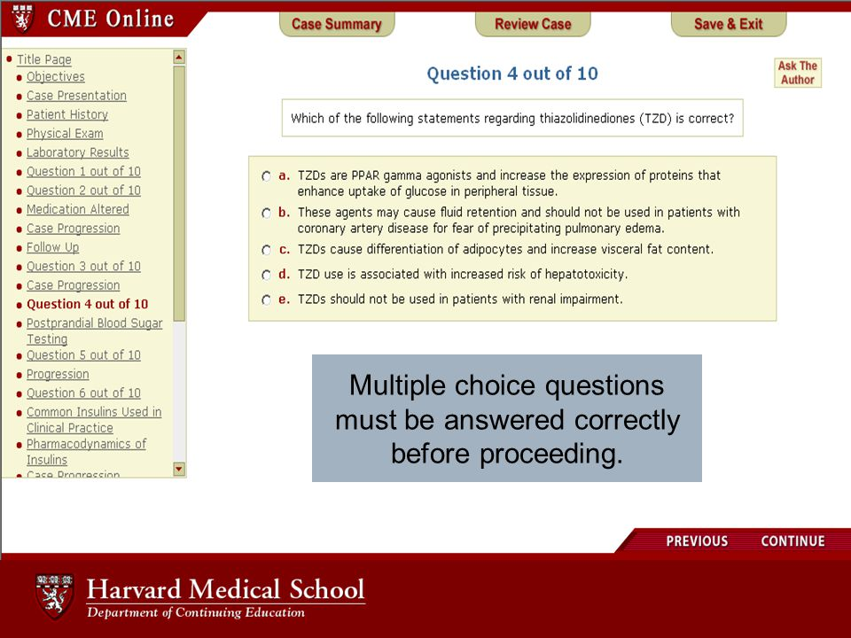 Multiple choice questions must be answered correctly before proceeding.