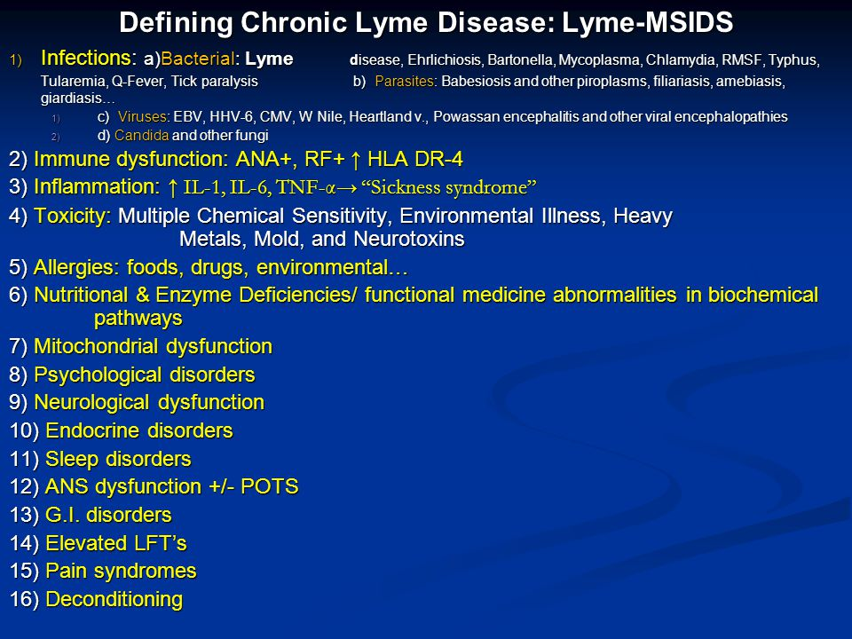 Overview: Lyme & Chronic Disease in the US 6) Treating Lyme disease: evidence of persistent/chronic borrelial infection & the need for longer treatment courses 6) Treating Lyme disease: evidence of persistent/chronic borrelial infection & the need for longer treatment courses 7) Chronic infection from Lyme and associated tick-borne diseases drives inflammation.