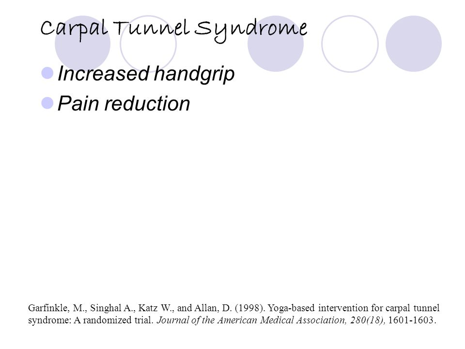 Carpal Tunnel Syndrome Increased handgrip Pain reduction Garfinkle, M., Singhal A., Katz W., and Allan, D.