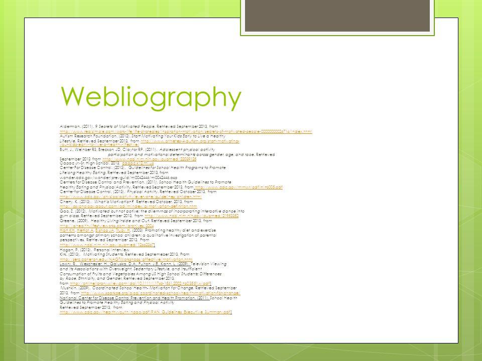 Webliography Alderman. (2011). 9 Secrets of Motivated People. Retrieved September 2013, from http://www.realsimple.com/work-life/life-strategies/inspi