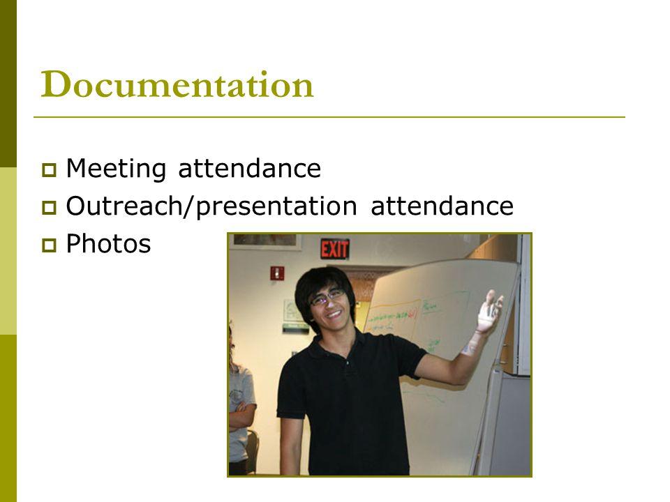 Documentation  Meeting attendance  Outreach/presentation attendance  Photos
