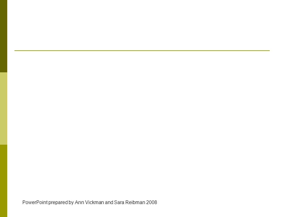 PowerPoint prepared by Ann Vickman and Sara Reibman 2008