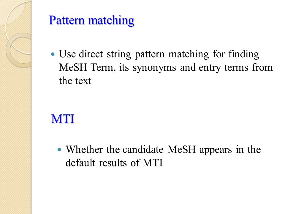 Use direct string pattern matching for finding MeSH Term, its synonyms and entry terms from the text Pattern matching MTI Whether the candidate MeSH appears in the default results of MTI