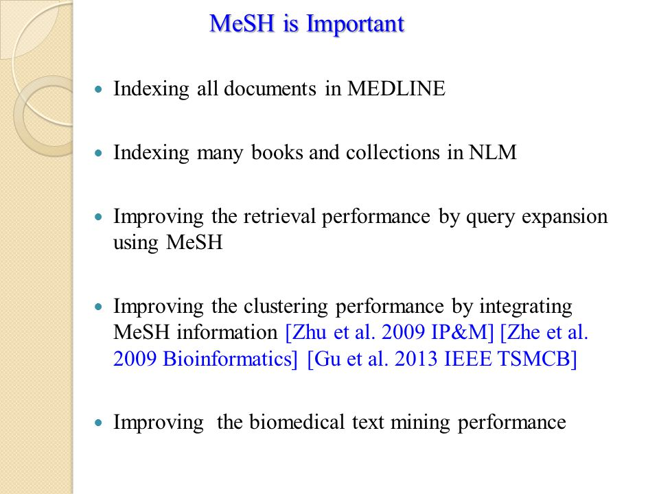 Indexing all documents in MEDLINE Indexing many books and collections in NLM Improving the retrieval performance by query expansion using MeSH Improving the clustering performance by integrating MeSH information [Zhu et al.