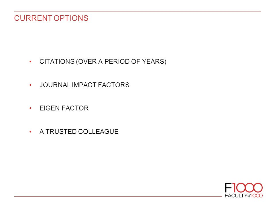 CURRENT OPTIONS CITATIONS (OVER A PERIOD OF YEARS) JOURNAL IMPACT FACTORS EIGEN FACTOR A TRUSTED COLLEAGUE