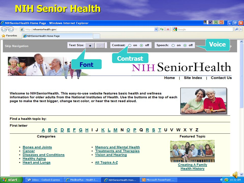 NIH Senior Health Font Contrast Voice