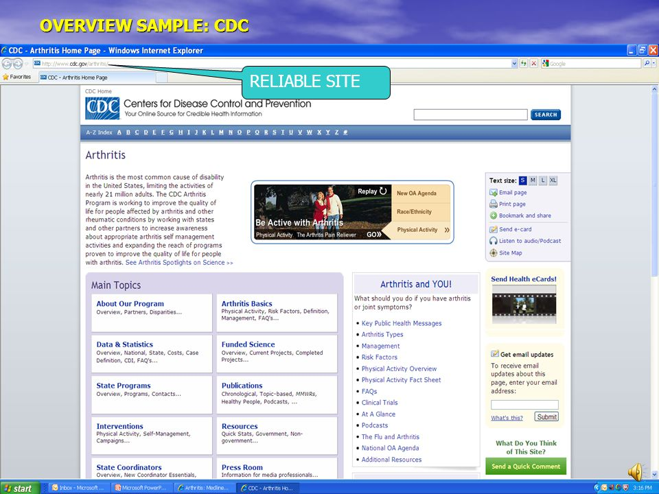 OVERVIEW SAMPLE: CDC RELIABLE SITE