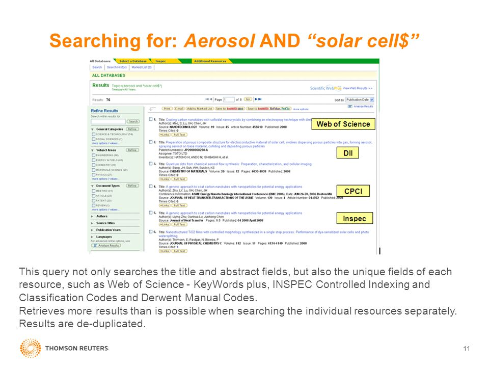 11 This query not only searches the title and abstract fields, but also the unique fields of each resource, such as Web of Science - KeyWords plus, IN